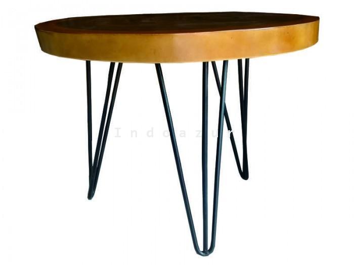Indoazur Product Meja Kayu Kaki Besi Wooden Table Iron Legs